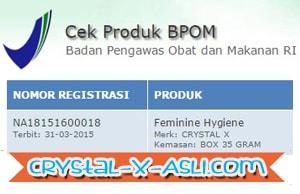 bpom crystal x,daftar bpom cristal x,daftar bpom crystal x,ijin bpom crystal x,izin bpom crystal x,no bpom crystal x asli